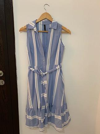 Chima Mavi gömlek elbise