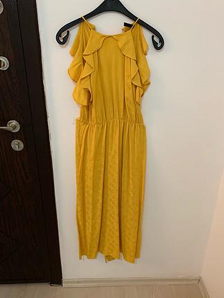 xs Beden altın Renk Zara sarı elbise