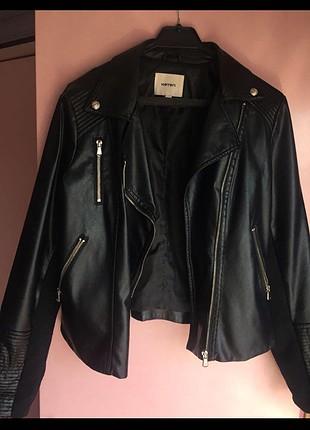 m Beden siyah Renk Koton deri ceket