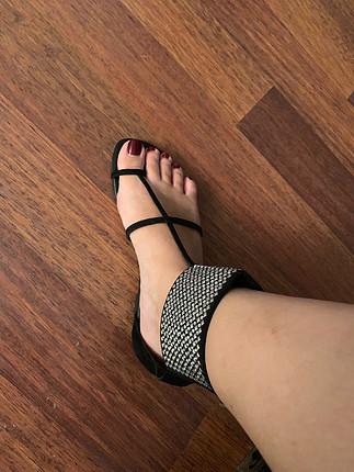 38 Beden Siyah Suet Sandalet
