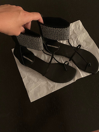 38 Beden siyah Renk Siyah Suet Sandalet