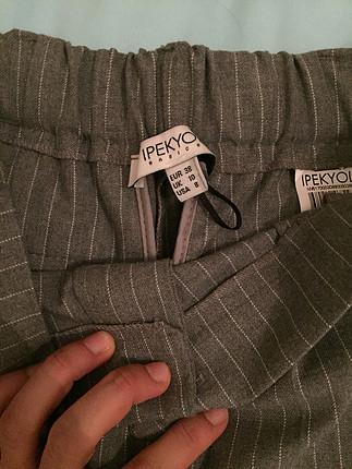 38 Beden Gri cizgili havuc pantolon
