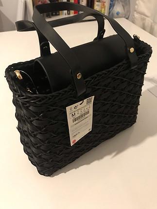 diğer Beden siyah Renk Zara hasır çanta