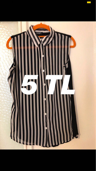 5 TL Siyah Beyaz Çizgili Şifon Şık Tertemiz Yepyeni Gömlek??????