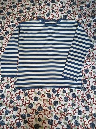 Zara Mavi Beyaz Çizgili Sweat