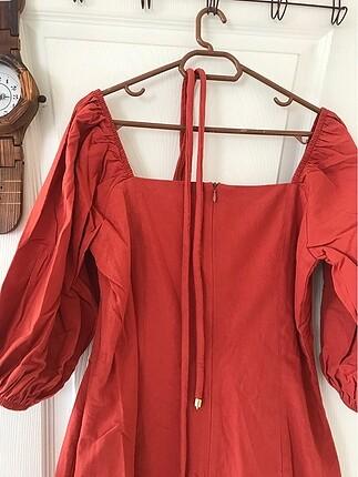 m Beden turuncu Renk Balon kol elbise