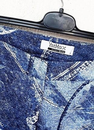 42 Beden mavi Renk Ysatis Marka Mükemmel Mikro Desenli Kot Görünümlü Pantolon