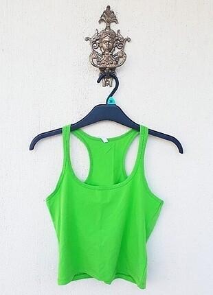 Sırt Kısmı Çapraz Yeşil Göbek Üstü Bluz