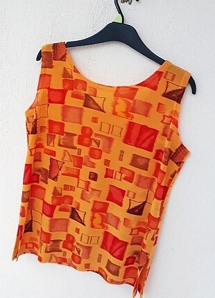 42 Beden turuncu Renk Vintage Mikro Desenli Bluz