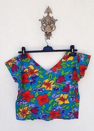 Vintage Çiçek Desenli Crop Bluz