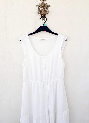 Clock House Marka Mükemmel Jakarlı Beyaz Elbise