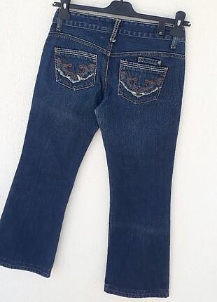 34 Beden mavi Renk Mango Jeans Eskitme Detaylı Kot Pantolon