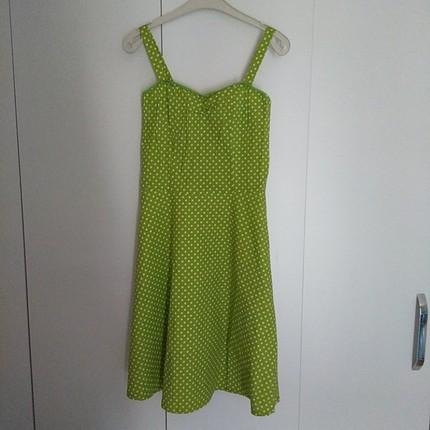 yeşil puantiyeli koton elbise