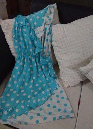 Mavi puantiyeli bluz elbise