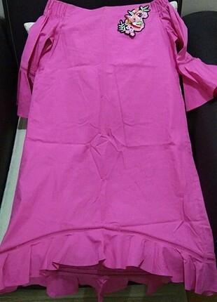 Koton fuşya pembe nakışlı elbise