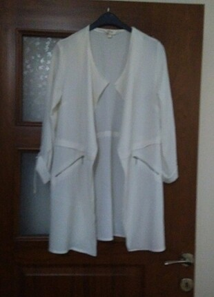 Beyaz koton ince ceket