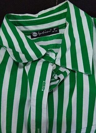 Fashion yeşil çizgili tunik