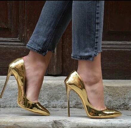 39 Beden altın Renk Pelinin Ayakkabıları Gold Stiletto