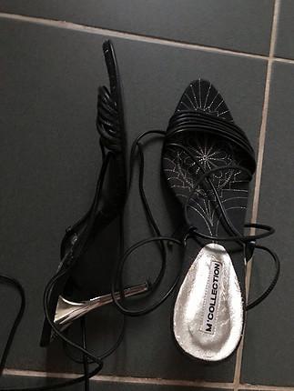 Gercek deri Baglamali topuklu ayakkabi
