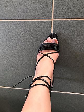 38 Beden siyah Renk Gercek deri Baglamali topuklu ayakkabi