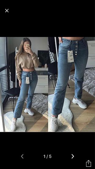 Zara yüksek bel önden düğmeli pantolon