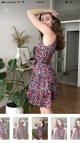 34 Beden çeşitli Renk Milla çiçekli elbise