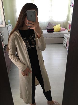 s Beden Krem renk uzun ceket