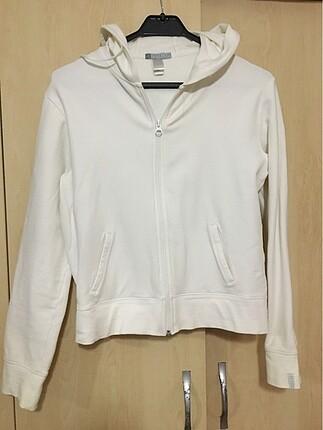 Fermuarlı Beyaz Sweatshirt
