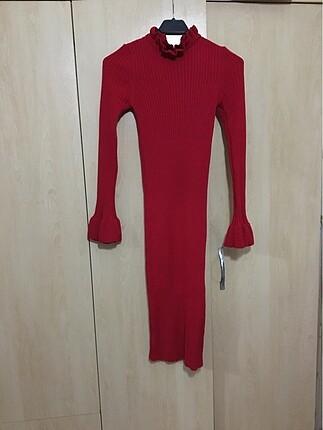 Kırmızı Triko Elbise