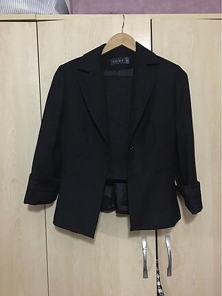Siyah Simli Etek Ceket Takım Elbise