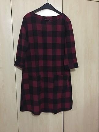 Kırmızı Kareli Kışlık Elbise