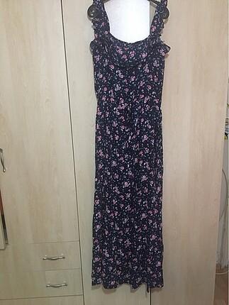 Lacivert Pembe Çiçekli Elbise