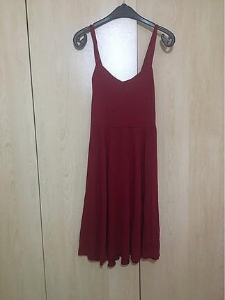 Bordo Askılı Elbise
