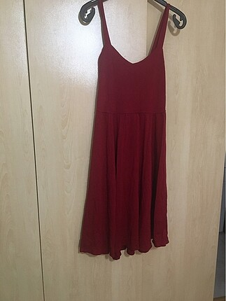 m Beden bordo Renk Bordo Askılı Elbise