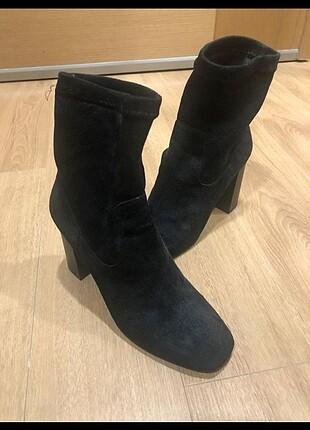 Siyah süet yeni çorap bot