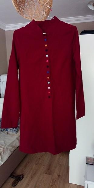 Bordo Renkli Düğmeli Tunik