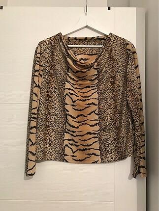 Vintage Love Leopar bluz esnek