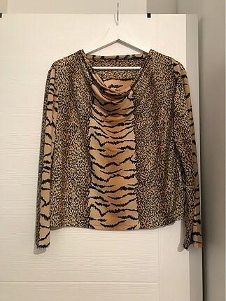 Leopar bluz esnek