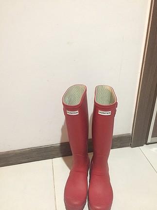 Hunter kırmızı mat çizme