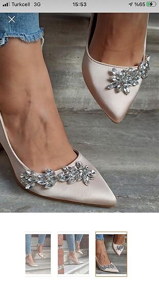Saten taşlı ayakkabı