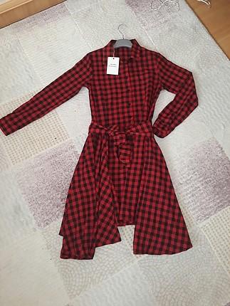 Kırmızı Ekose Gömlek Elbise