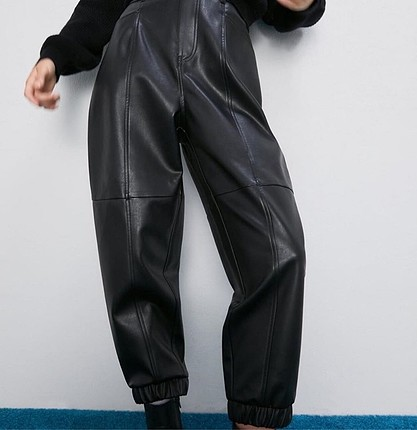 38 Beden siyah Renk Deri pantolon