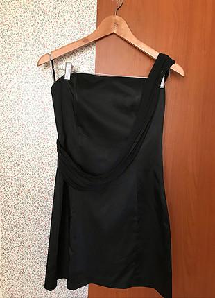 m Beden siyah Renk Saten gece elbisesi