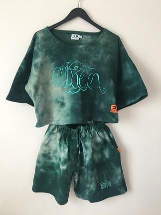 vintage batik şort tişört takım