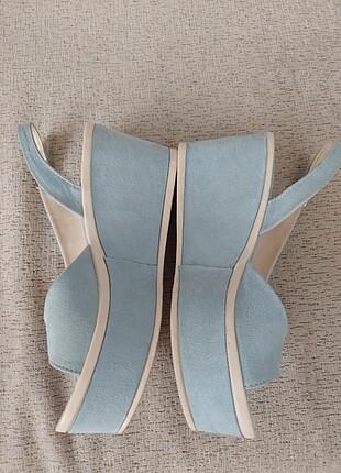 Mavi s?et dolgu topuk yazlık ayakkabı