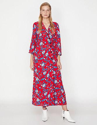 Koton günlük uzun kırmızı elbise