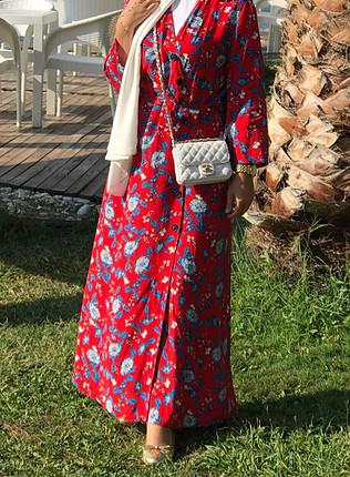 m Beden Koton günlük uzun kırmızı elbise