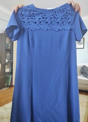 Saks mavisi elbise