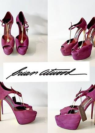Brian Atwood Designer Platform Topuklu Ayakkabı / Önden Gold geç