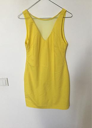 zara basic sarı elbise